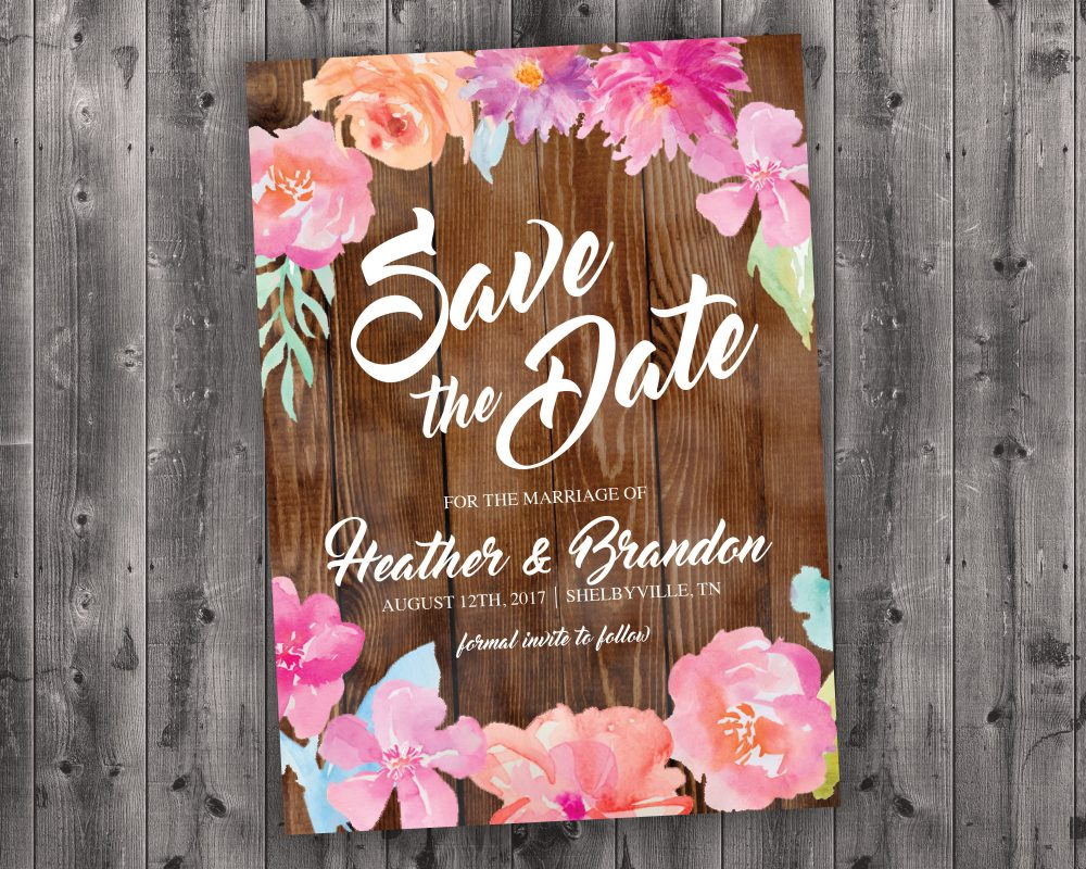 Wood Floral Wedding Save The Date Printed - Affordable, Vintage, Floral, Country, Water Color, Flowers, Cheap, Summer, Barn