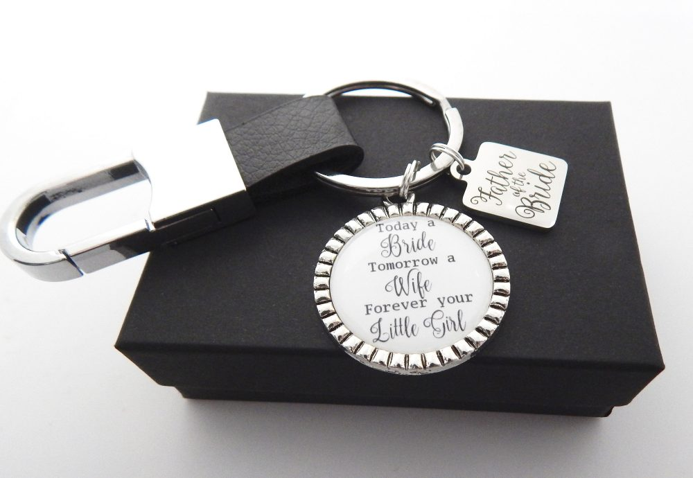 Father Of Bride Gift-Wedding Gift For Dad-Mens Wedding-Father Keychain-Father Wedding Keychain-Gift From Daughter-Leather Keychain