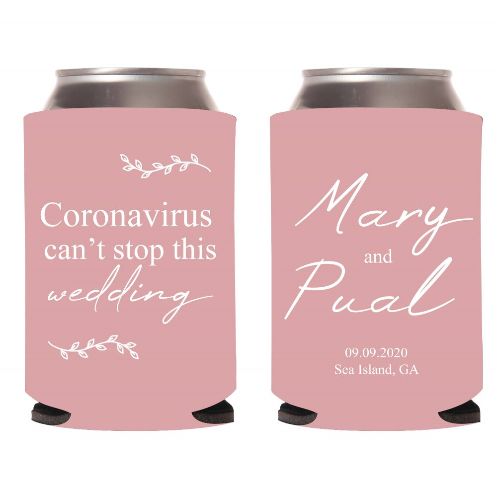 Corona Wedding Coolers, Personalized Can Custom Cooler Favor, Monogram Quarantine Favors | 6