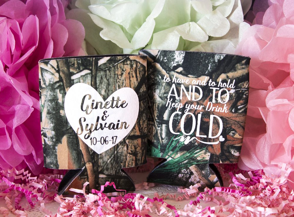 Camo Wedding Favors, Can Cooler, Hunting Wedding, Rustic Monogrammed Wedding, Personalized