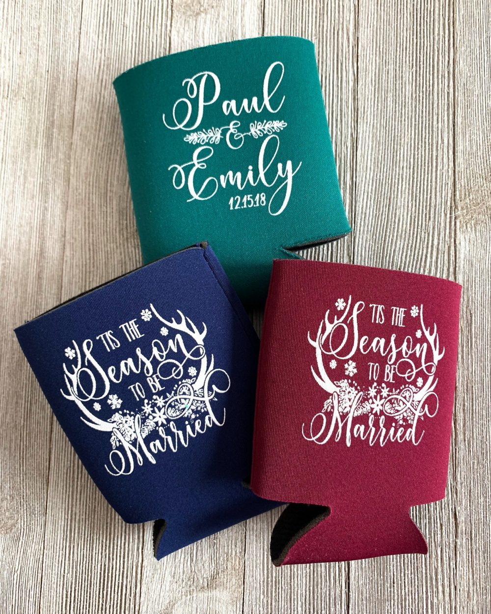 Christmas Wedding Personalized Can Cooler Winter Holiday Favors Rustic December
