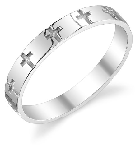 Etched Cross Wedding Band in Sterling Silver