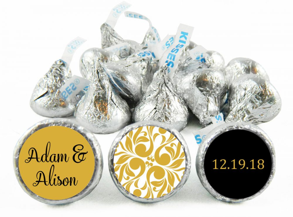 Gold, Any Color, Wedding Labels For Hershey's Kisses. Kiss Stickers - Gold Party Favors Anniversary Set Of 108 #idwed701