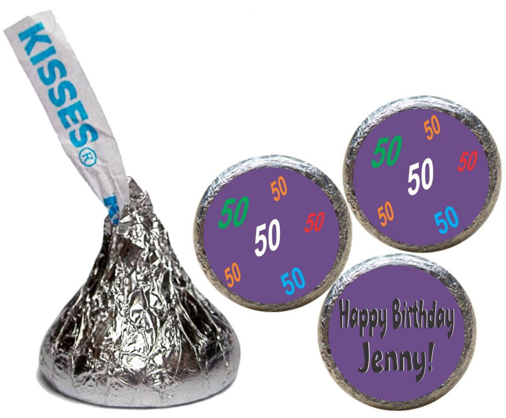 50Th Birthday, 40Th Kiss Stickers, Party Favors, Candy Happy Chocolate Favors | Set Of 108 | R50