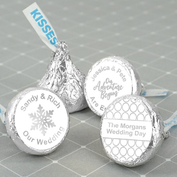 Chocolate Hershey Kisses Included, Foil Wedding Favors, Personalized Hershey's Kisses, Metallic - Set Of 100