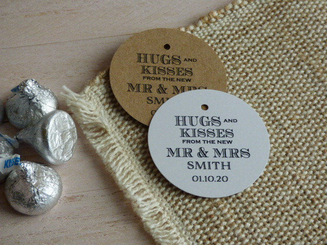 Hugs & Kisses From Mr Mrs Tag. Chocolate Favor Tag
