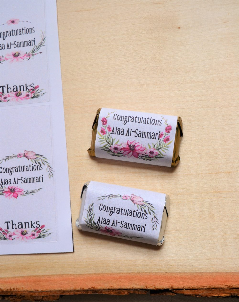 Nikah Personalized Gifts - Treats, Set Of 24 Congratulations Mini Candy Wrappers, Customized Wedding Chocolate Wrappers, Miniature Hershey's