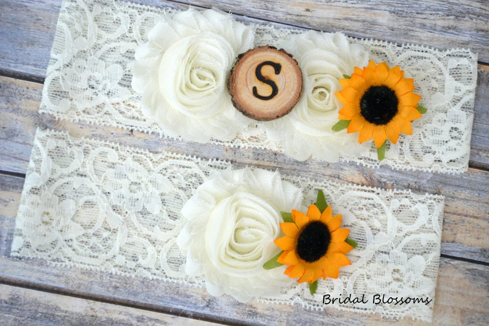 Ivory Sunflower Bridal Garter Set With Initial   Chiffon Flower Garters Wood Rustic Country Wedding Stretch Lace Plus Size Cream White