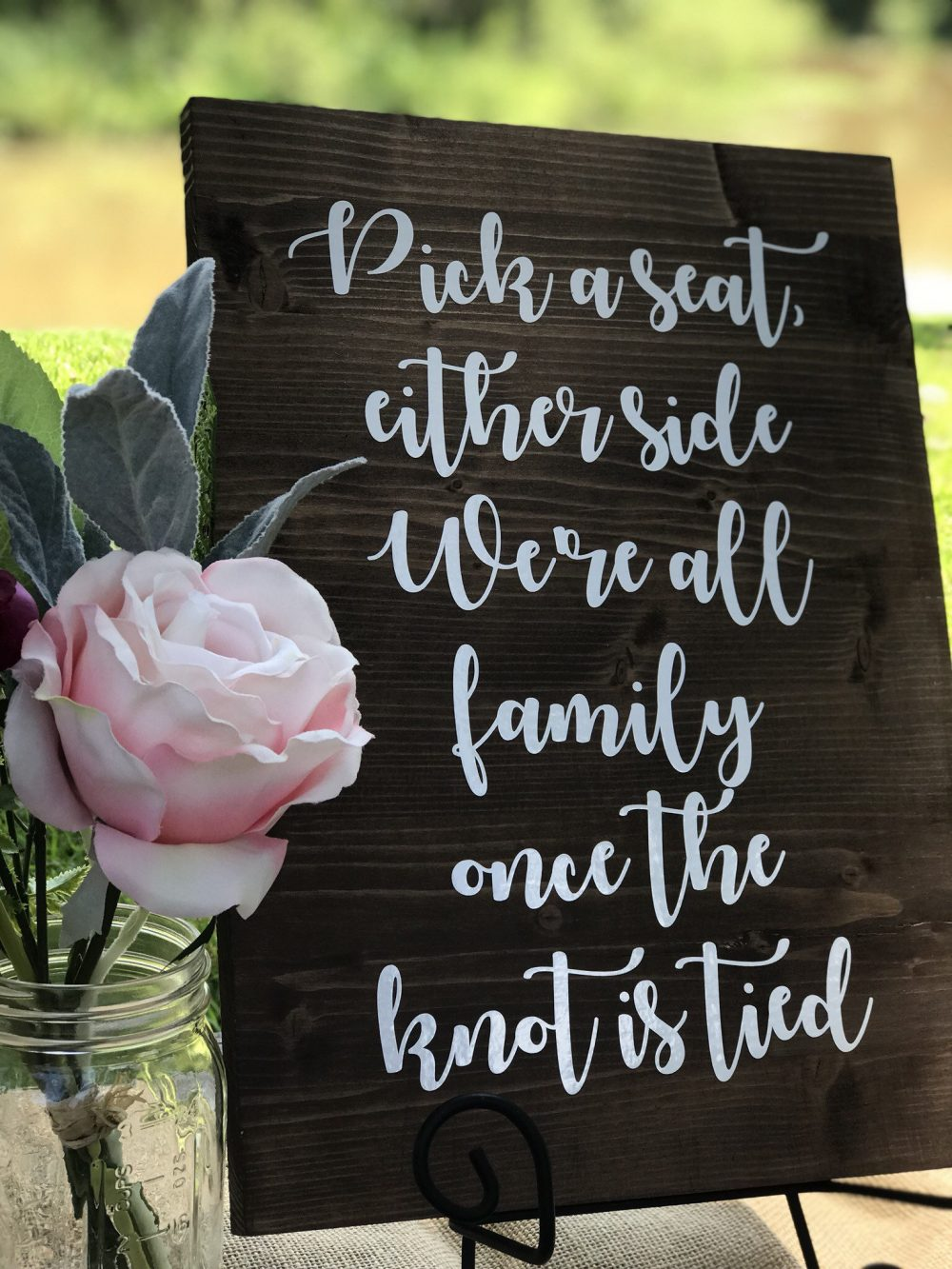 Pick A Seat Not Side Sign-Wedding Decor-Wood Sign-Pick Sign-Were All Family Once The Knot Is Tied-Wedding Ceremony
