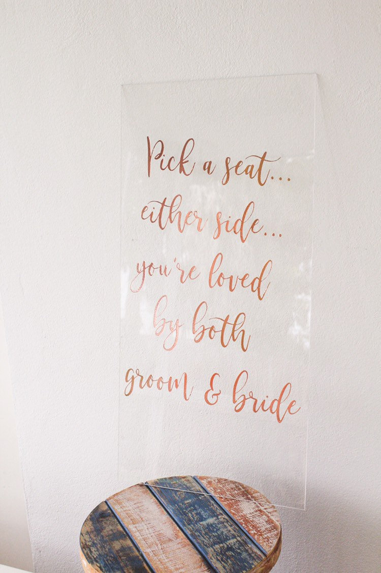 Pick A Seat Not Side Sign | Wedding Ceremony Aisle Acrylic