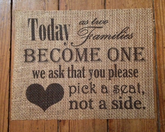 """Burlap Wedding Decor """"Pick A Seat, Not Side"""" Sign Marriage On Custom Designs"""