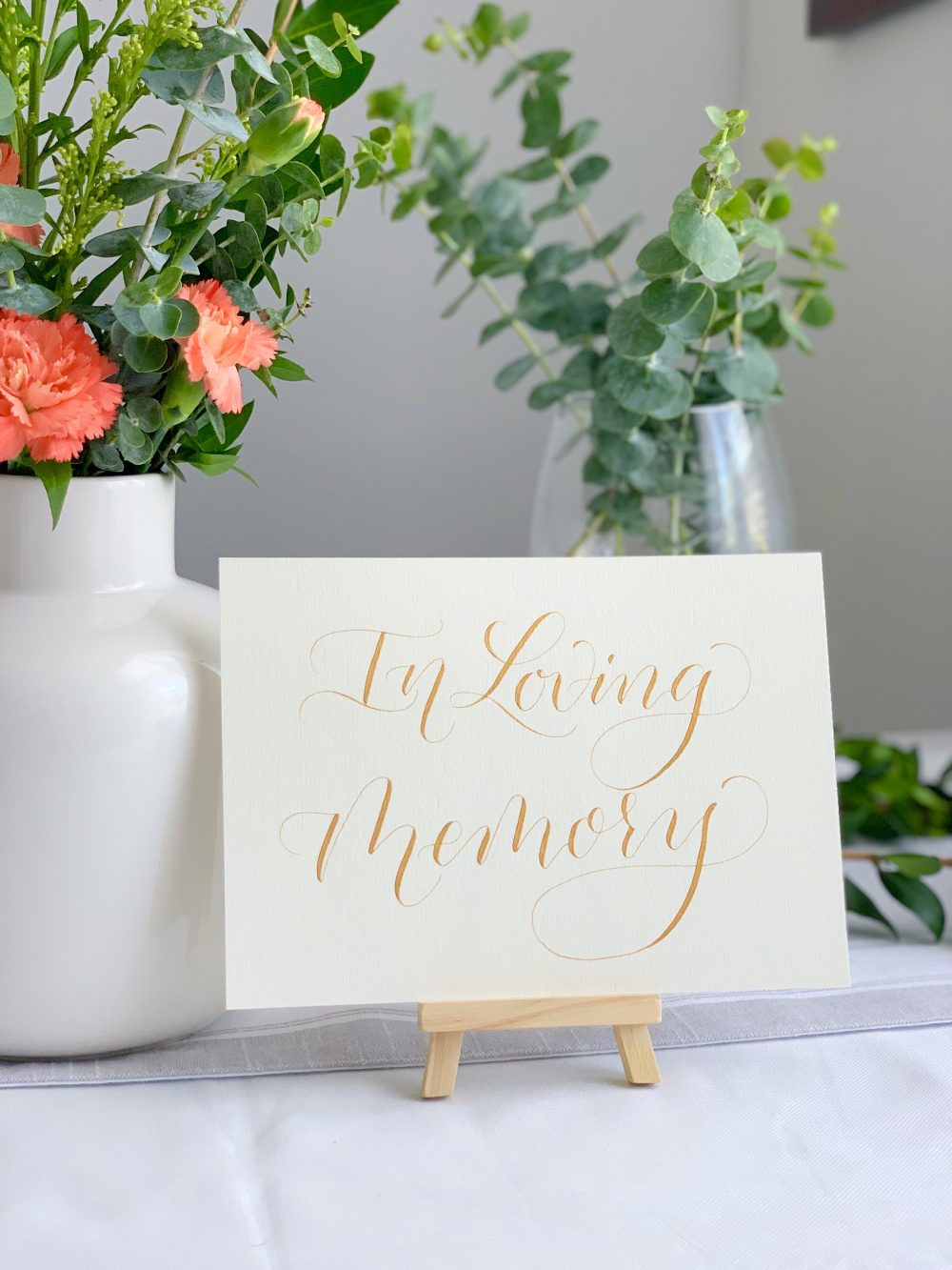 Ivory & Gold in Loving Memory Wedding Decor Sign | Signs For Reception Memorial Calligraphy