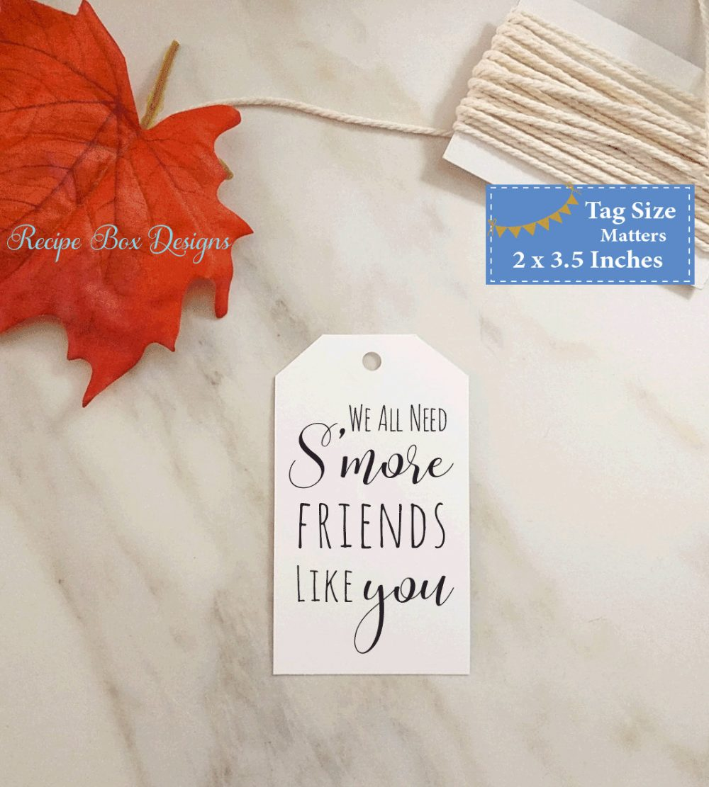 Smore Friends Smores Tags, S'more Favor Birthday Party S'mores Tag, Best Friends, We Need