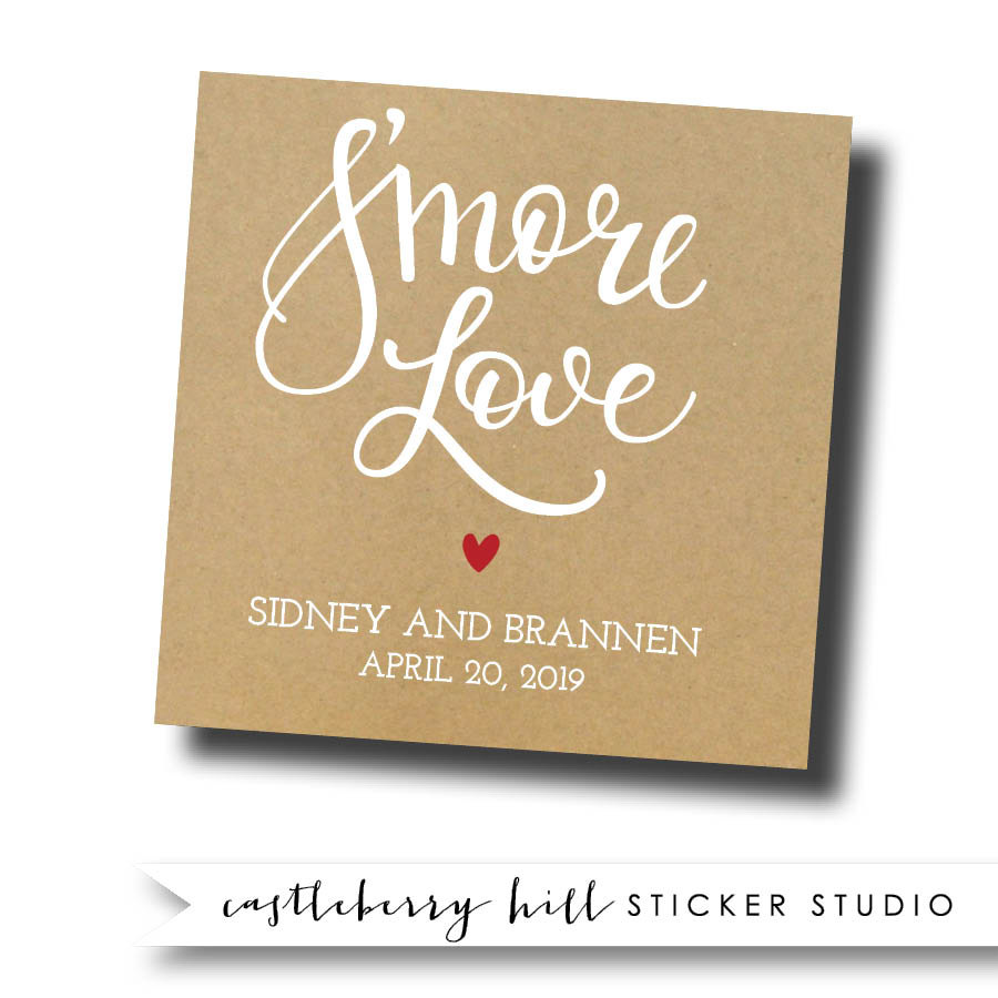 Smore Love Stickers, Smore Lover Tags, Favor Bar, Smores Wedding Favors, Kit, Smores, Station