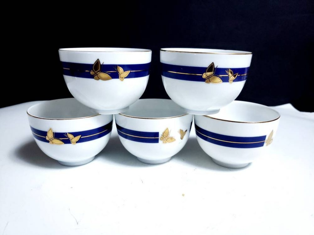 Set Of 5 Vintage Japanese Porcelain Tea Cups Rice Bowls Decorated With Gold Butterflies & A Cobalt Band Marked Shoyo Made in Japan Origin