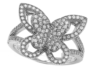 Zoe R™ 925 Sterling Silver Micro Pave Hand Set Cubic Zirconia (CZ) Butterfly Ring