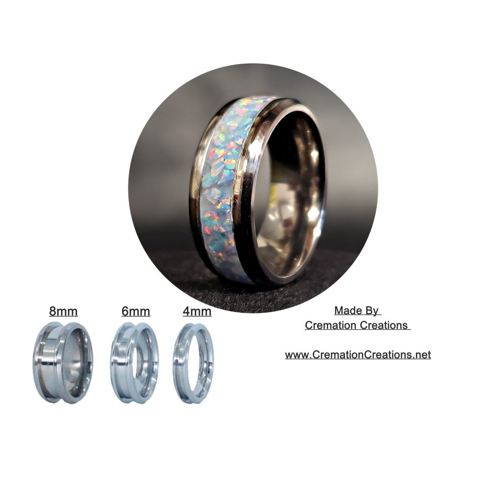 Titanium Core Ring With Synthetic, Crushed Fire & Snow Opal