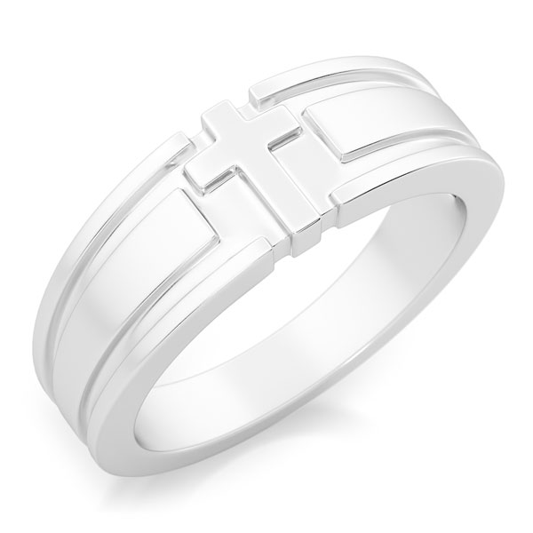 I Am the Truth Men's 14K White Gold Cross Ring
