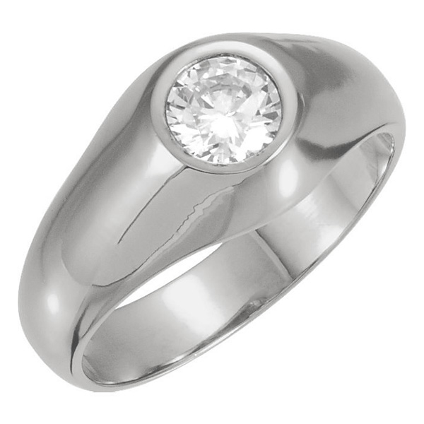 Men's White Topaz Solitaire Ring in 14K White Gold