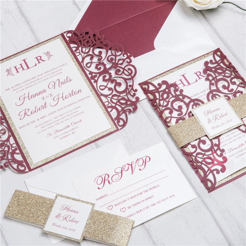 Burgundy & Gold Glitter Lasercut Invitation Suite, Diy Kit Elegant Lace, Laser Invitations For Weddings, Easy Event