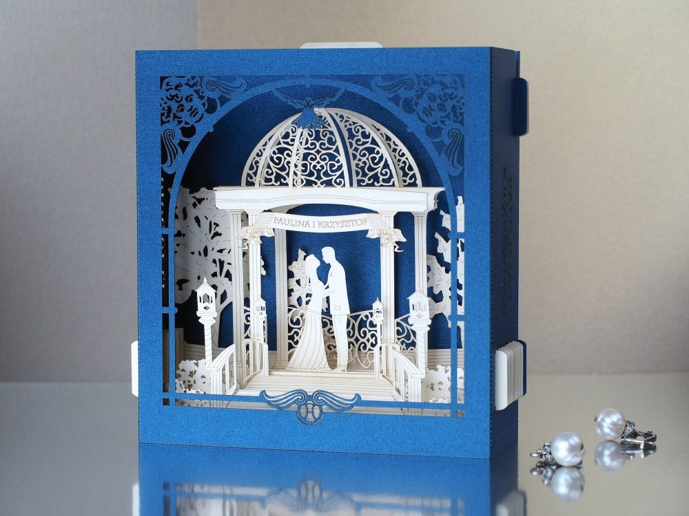 Dark Blue Wedding Cards. Pop Up Invitation. Garden, Arch, Trees, Lamps, Bride, Groom Names, Date Engraved. Laser Cut Pop Rsvp Invitations