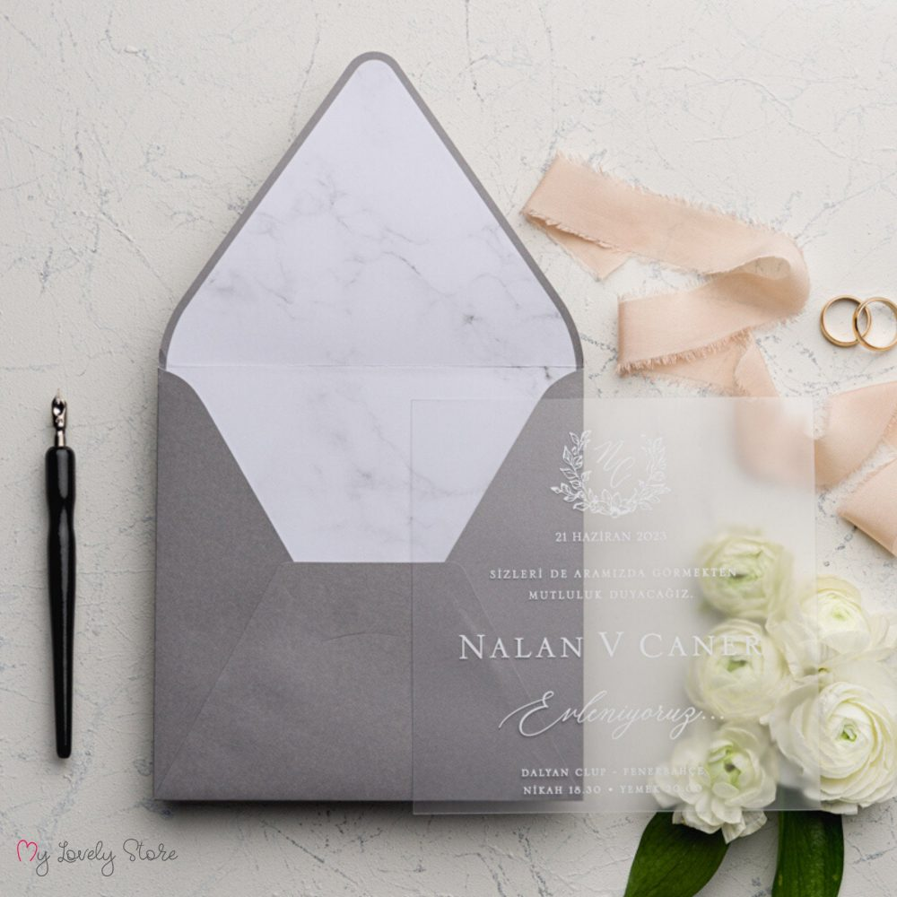 Clear Acrylic & Real Foil Wedding Invitation, Elegant Invitation Set, Fancy Premium Invitations, My Lovely Store