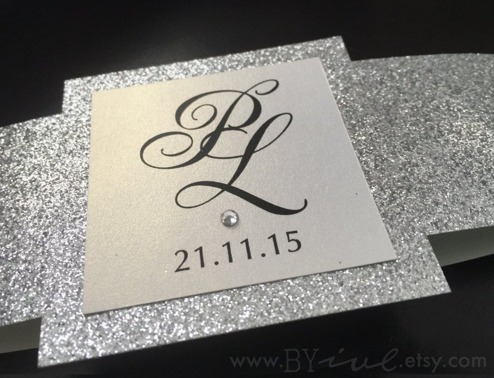 Glitter Belly Bands For Wedding Invitation. Varied Colors Of Glitter With White Pearl Theme. Elegant, Fancy & Chic Decor