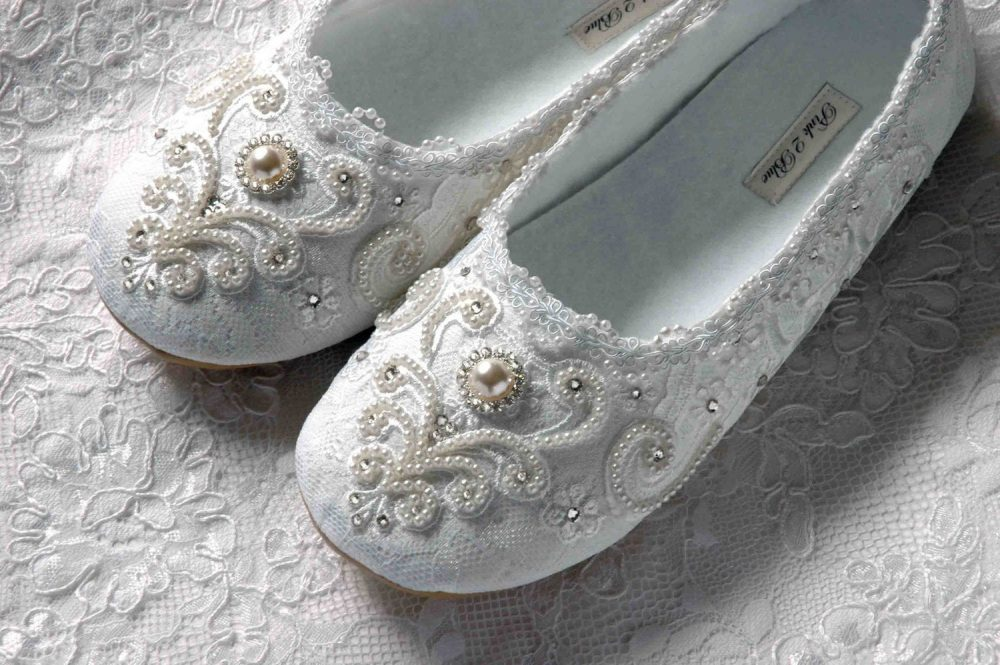 Women's Wedding Bridal Ballet Style Flats, Vintage Lace, Swarovski Crystals, Pearls, Custom Handmade By Pink2Blue