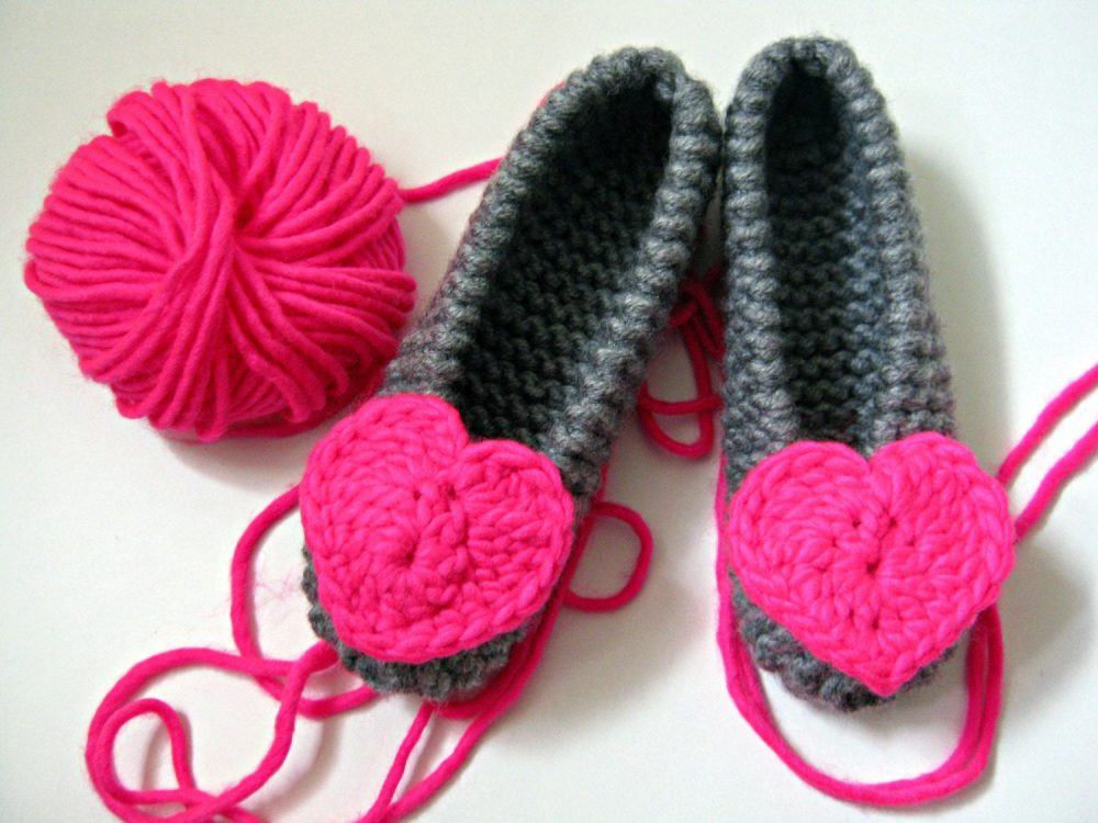 Neon Pink Heart Slippers, Knitted Ballet Flats, Girls Womens Houseshoes, Wedding Party Gift, Bridesmaid Bridal