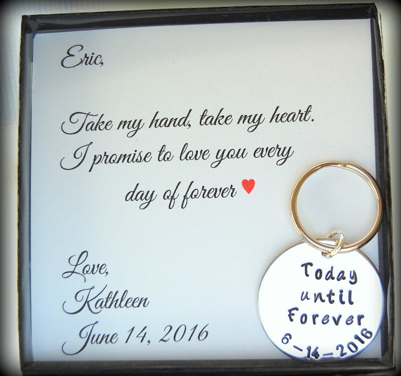 Groom Gift From Bride, To Grooms Key Chain, To My Groom On Our Wedding Day, Custom Today Until Forever Chain