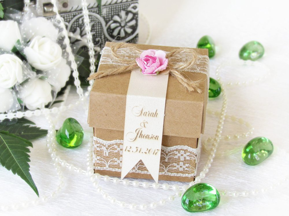 6 Pcs, Wedding Favor Boxes, Personalized Custom Wedding Tags, Shower Favors, Candy Boxes & Any Color Of Lace, Gifts For Guests, Bridal Shower
