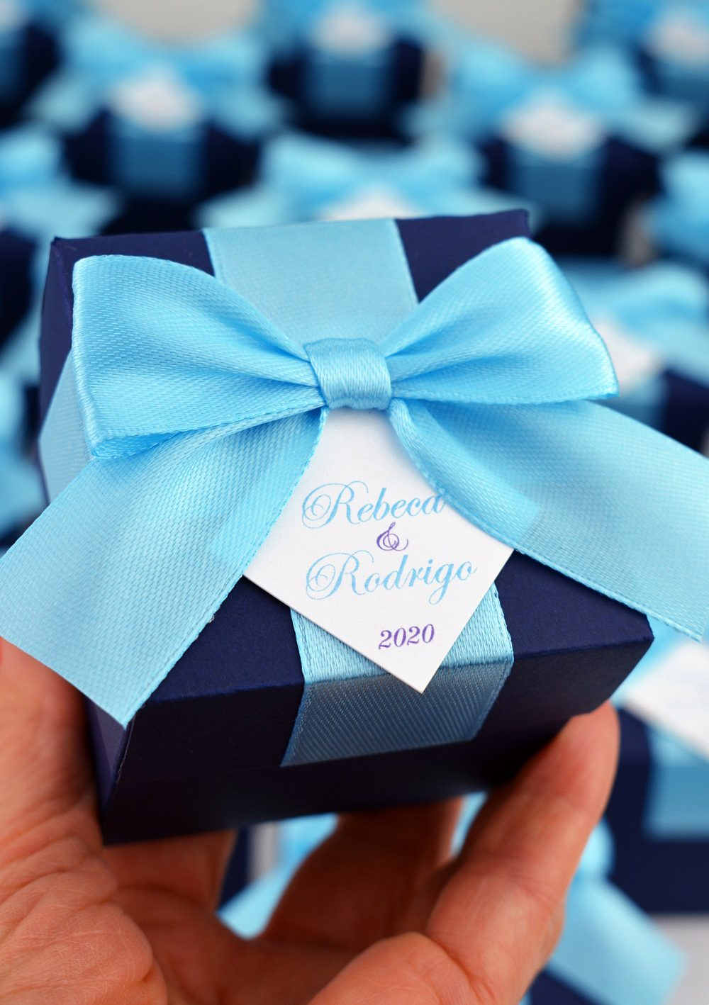 Navy Blue Wedding Favor Boxes With Satin Ribbon Bow & Your Names, Elegant Personalized Bonbonniere, Box For Gifts Guests