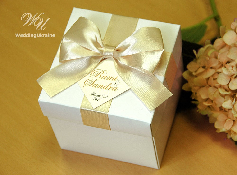 Champagne Wedding Gifts Boxes With Satin Ribbon, Bow & Names - White Custom Personalized Weddings Favors Box