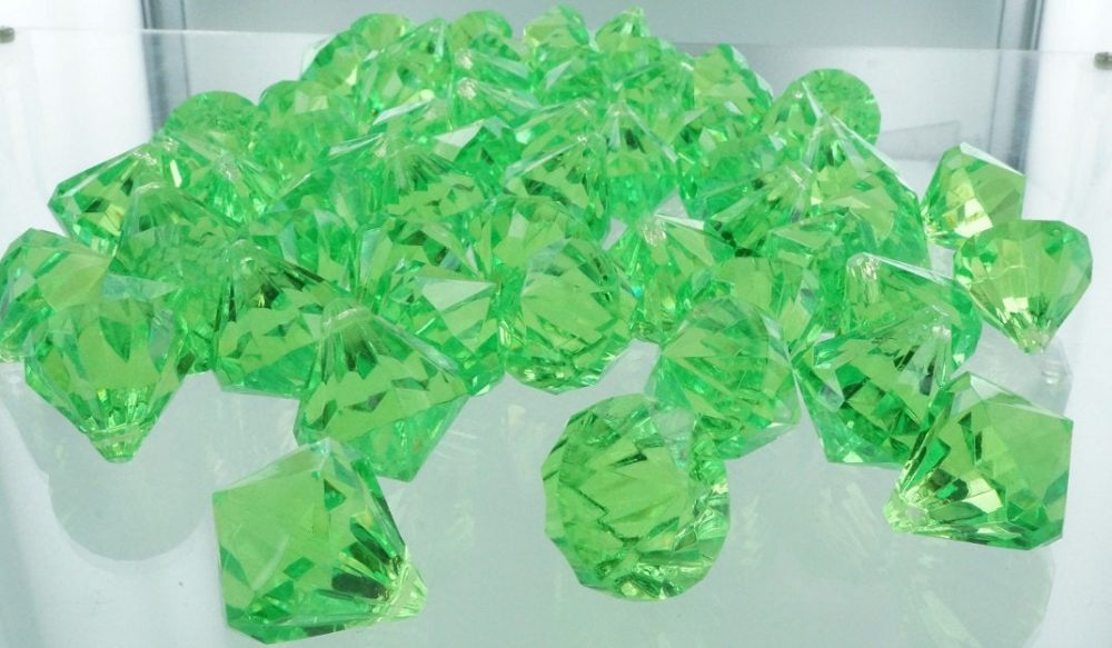 "100Pcs Acrylic Plastic Diamonds 100 Pieces Apple Green3/4""x1"", Acrylic Vase Filler, Orange Diamonds, Diamond Table Scatter, Confetti"