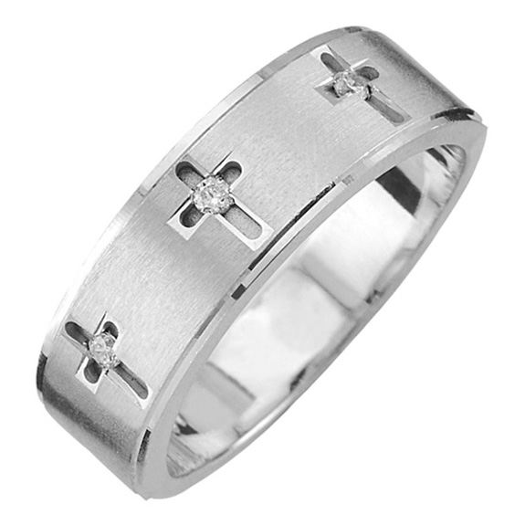 Men's Three Diamond Cross Wedding Band Ring