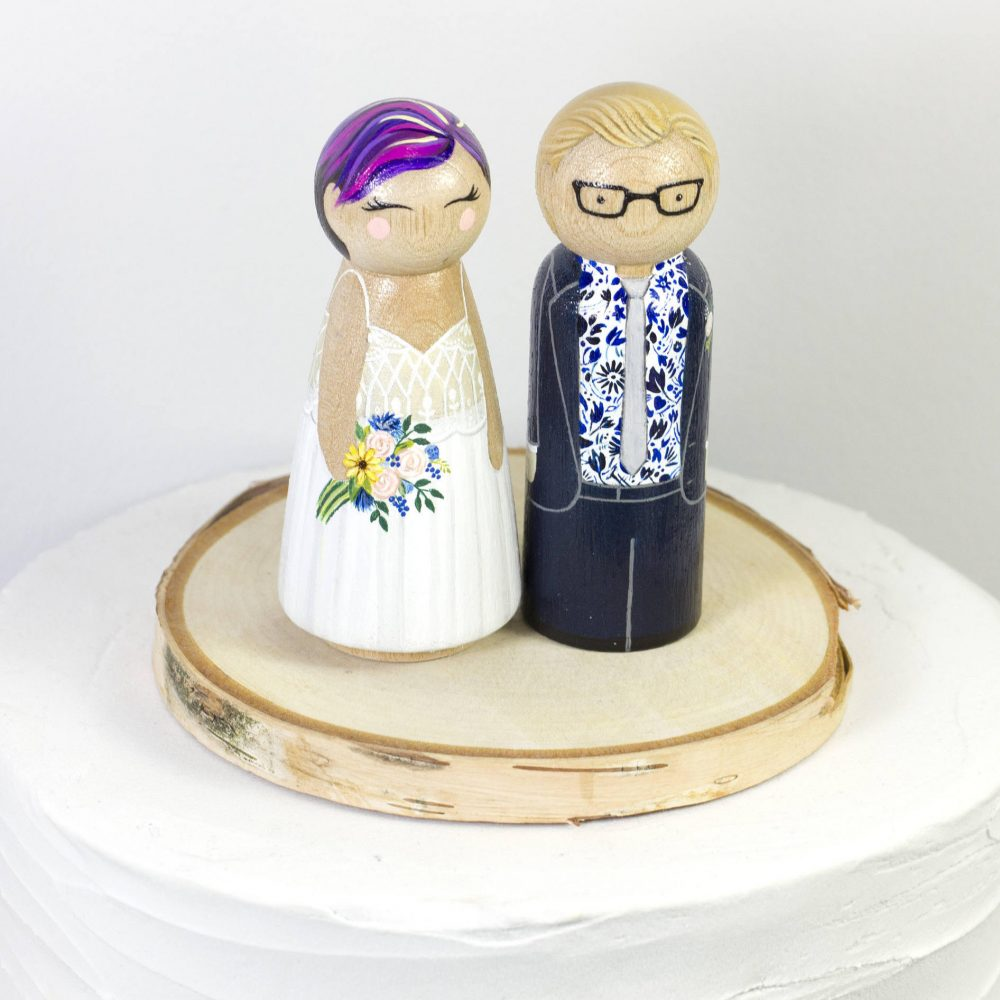 Peg Doll Cake Topper - Bride Groom Custom Wedding Figurine Wooden Gift