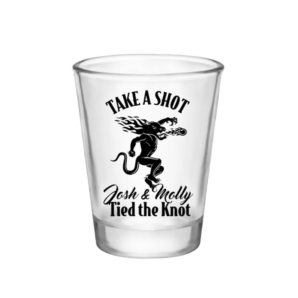 Wedding Shot Glass - Favor Custom Glasses Personalize Customize Favors Bride & Groom Fire