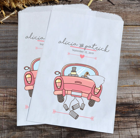Wedding Candy Bags Just Married Car | Personalized Favor Bride & Groom Bar Bag