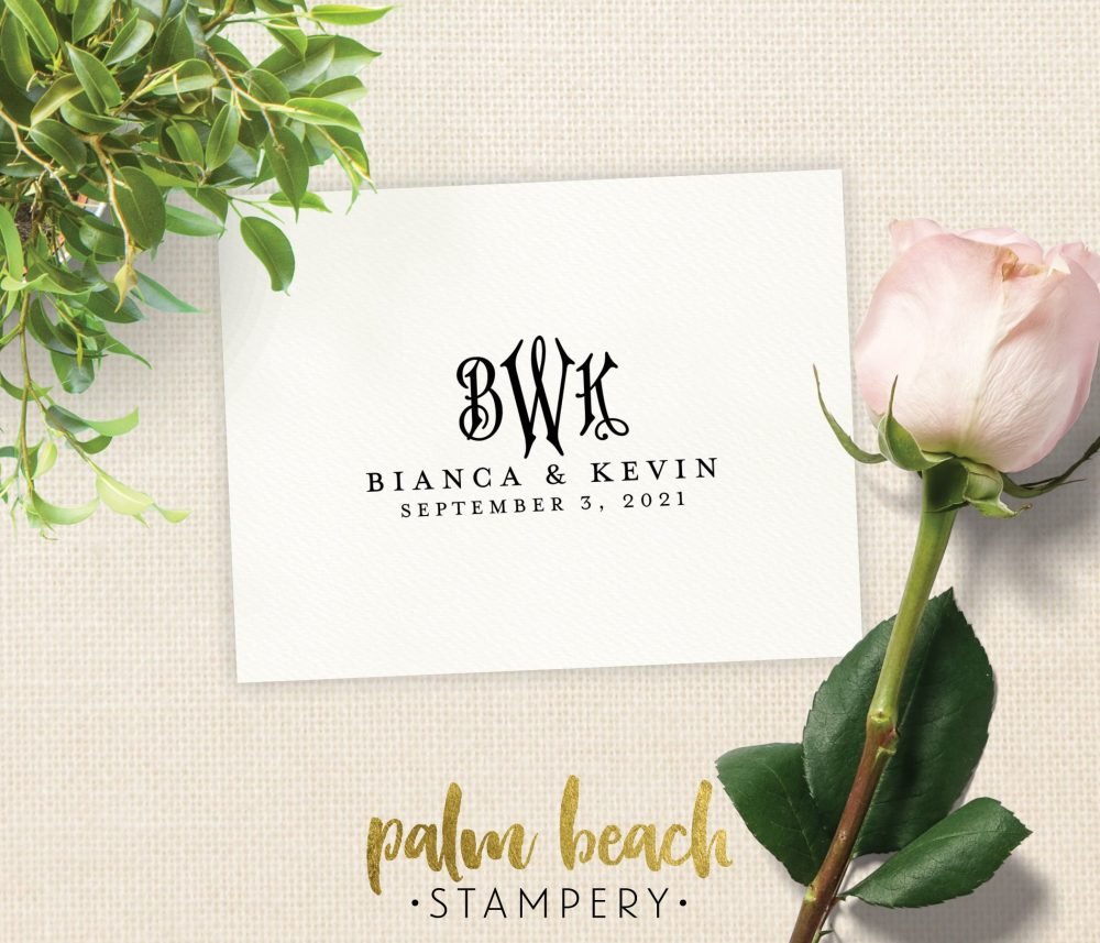 Bianca Monogram Wedding Stamp - Custom Favor Bride & Groom Initials, Names & Date Pre-Inked Self Inking Stamper