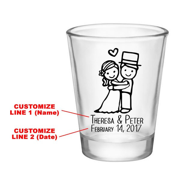 Custom Wedding Shot Glasses - Cute Favors Glass Personalized Favor Bride & Groom