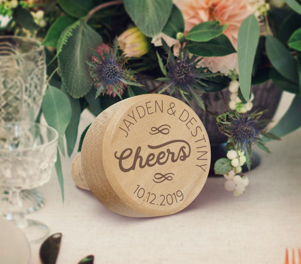 Cheers Wine Stopper, Wedding Gifts For Couple, Wooden Bottle Custom Favors, Bride & Groom Gift