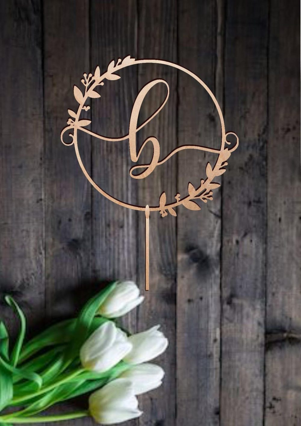 Wedding Monogram Cake Topper Rustic Letter Name Initial Anniversary Personalized
