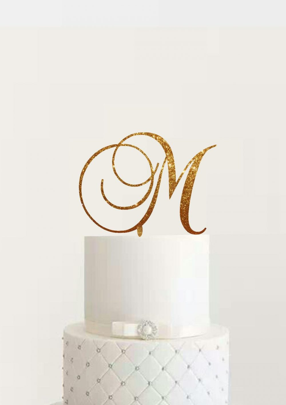 Elegance Wedding Monogram Cake Topper Custom Initial Letter Rose Gold Silver Glitter Unique Decoration Bridal Shower Engagement Anniversary