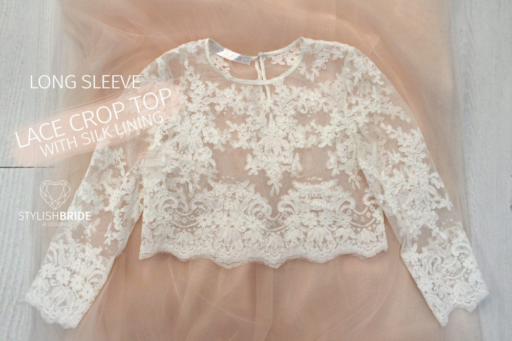 Belle Lace Crop Top Long Sleeves White Tops #002 Vest Tank Camisole Wedding Silk Bridesmaids Cami