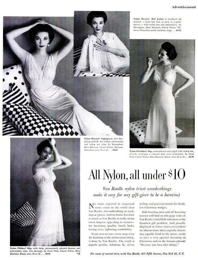1952 Van Raalte Nylon Lingerie Advertisement Mid Century Sexy Negligee Peignoir Black & White Fashion Wall Art Bridal Wedding Shower Decor