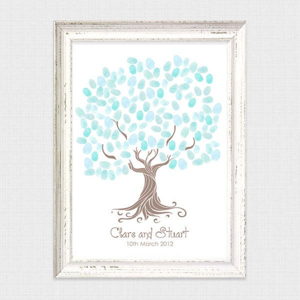 Whimsical Wedding Fingerprint Tree Guestbook - Printable File Thumbprint Tree, Guest Book Fun, Unique, Personalized