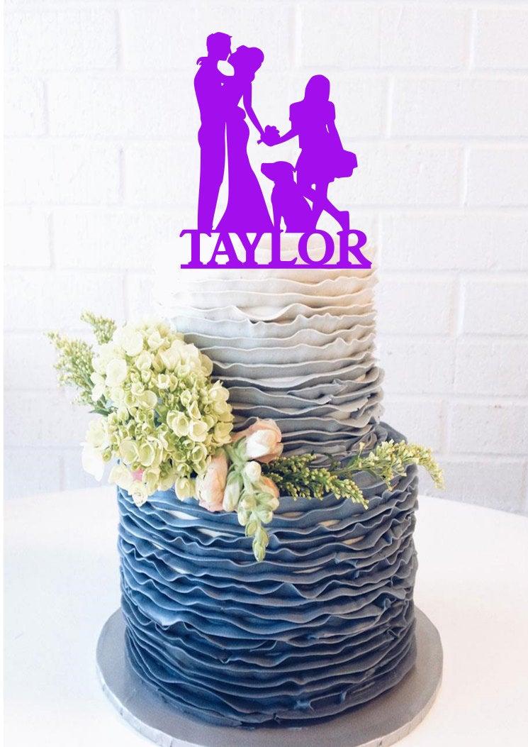Custom Silhouette Bride & Groom Wedding Cake Topper Big Family Silhouette Cake Topper Surname Last Name Dancing