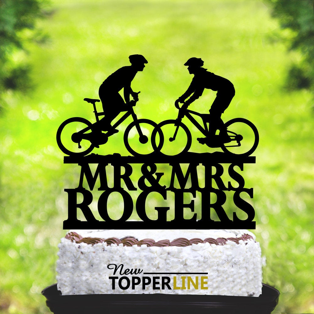 Wedding Bicycle Cake Topper, Wedding Topper, Bride & Groom Silhouettes On Bike, Bicycle Silhouette Topper, Mountain Bike Couple | 2058