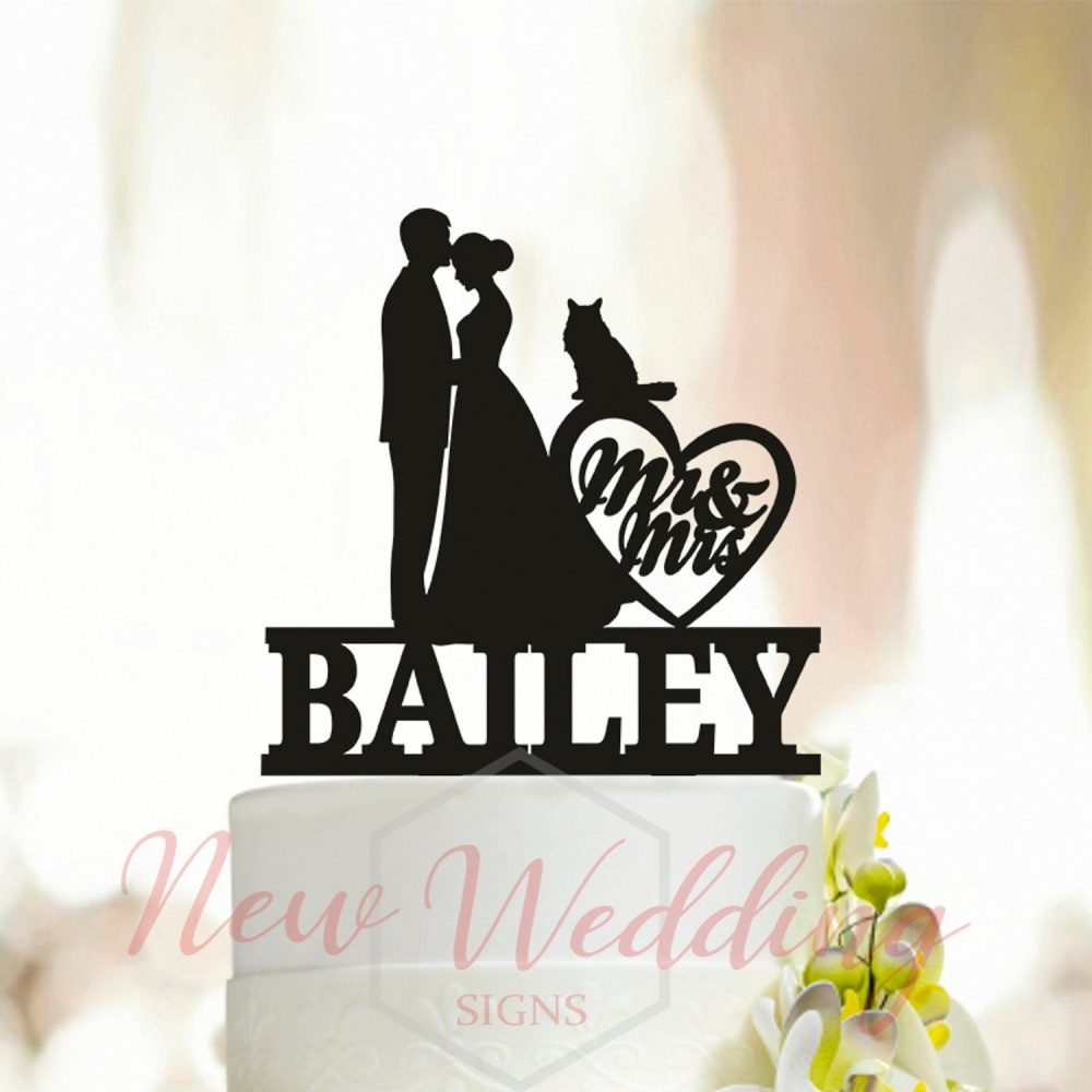 Wedding Silhouette Cake Topper With Dog, Bride Groom Kissing With Cats, Cat Topper, Dog Couple Topper, Cat A006