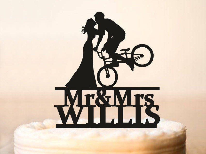 Wedding Bicycle Cake Topper, Wedding Topper, Bride & Groom Silhouettes On Bike, Bicycle Silhouette Topper, Custom Cake Topper | 0236